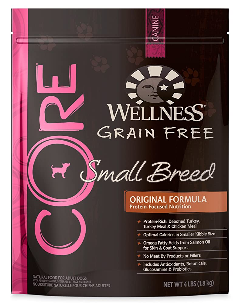 Wellness CORE Natural Dry Grain Free Small Breed Dog Food, Turkey & Chicken, 4-Pound Bag