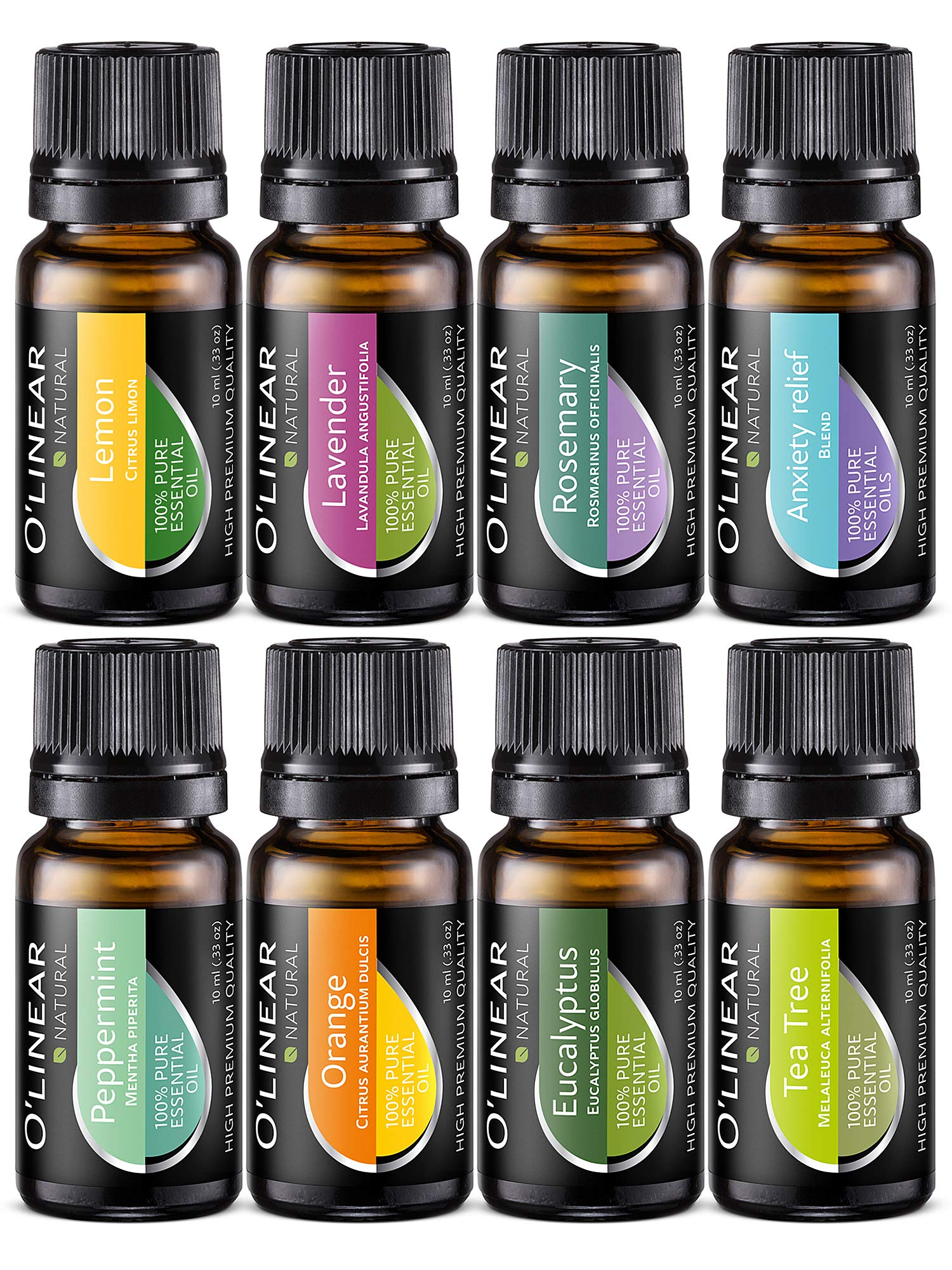 Essential Oil Aromatherapy Set - Pure Therapeutic Grade Oils Lavender, Peppermint, Rosemary, Orange, Tea Tree, Eucalyptus, Lemon, Anxiety Relief Blend Kit for Women & Men by O'linear