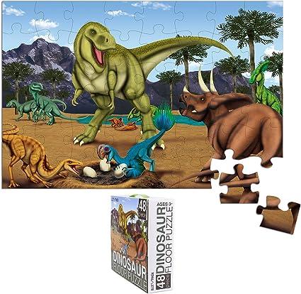48-Piece Floor Puzzle for Kids - Dinosaur Jumbo Jigsaw Puzzle, 1.9 x 2.9 Feet