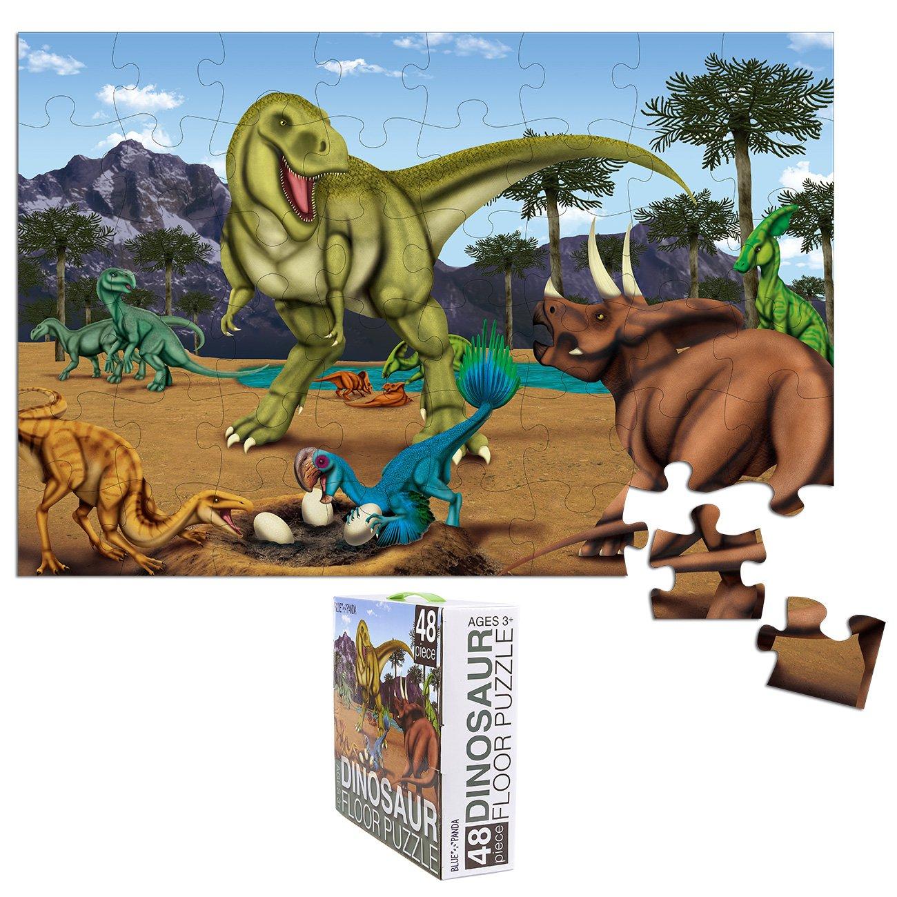 Blue Panda Floor Puzzles – 48 Piece Giant Floor Puzzle, Dinosaur Jumbo Jigsaw Puzzles, Floor Puzzles Kids in Preschool, Kindergarten, Ages 3-5, 1.9 x 2.9 Feet