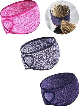 Tatuo 3 Pieces Fleece Ponytail Headband Earband Winter Running Headband Ear Warmer Headband for Women Girls Outdoor Sports and Fitness