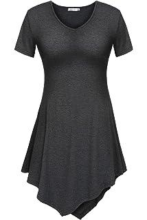 598c3c99919cb Meaneor Women s V Neck Short Sleeve Handkerchief Hem Lightweight Flare Tunic  Top