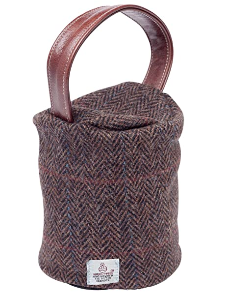 Harris Tweed Doorstop Cover Pure New Wool Door Stopper Outer Leather Handle Peat Herringbone