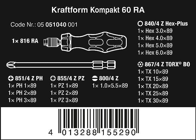 WERA WER051040 Kraftform Kompakt 60 Ratchet set 17 Piece