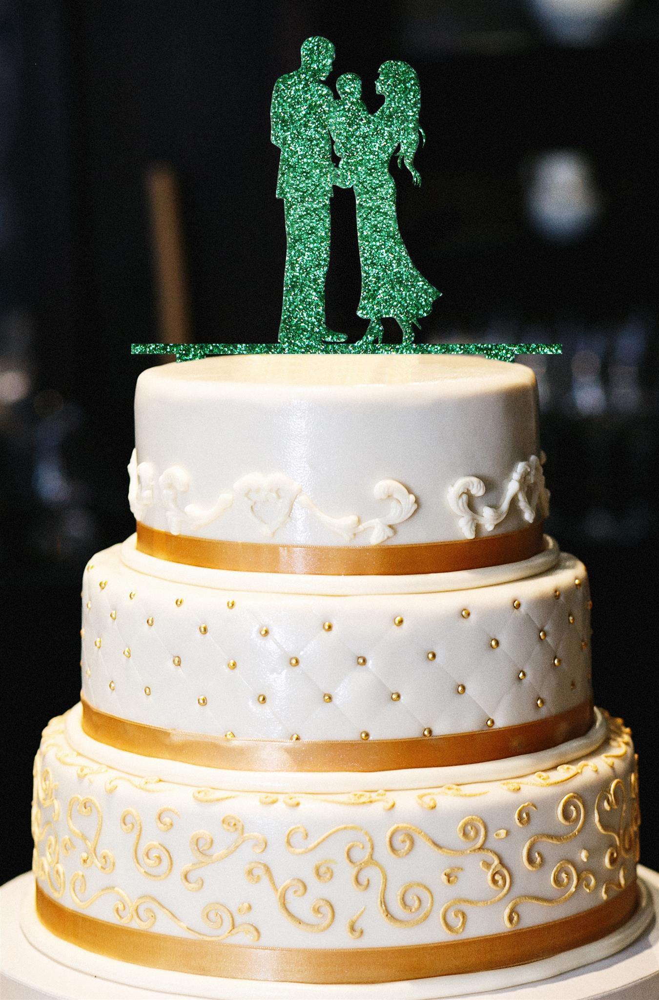 Mr. & Mrs. with Baby Wedding Cake Topper, Glitter Wedding Cake Topper, Engagement Cake Topper, Gold Cake Topper, Gold Glitter Cake Topper (14'', Glitter Emerald)