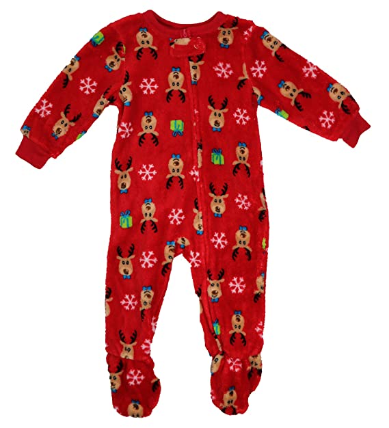 8eb55682c Amazon.com  Family PJs Holiday Reindeer Footed Pajamas Red 12 MO ...