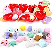 28 Packs Kids Valentine Mochi Squishy Set Includes 28 Mochi Squishies Filled Hearts and Valentine Cards for Kids Valentine Cl