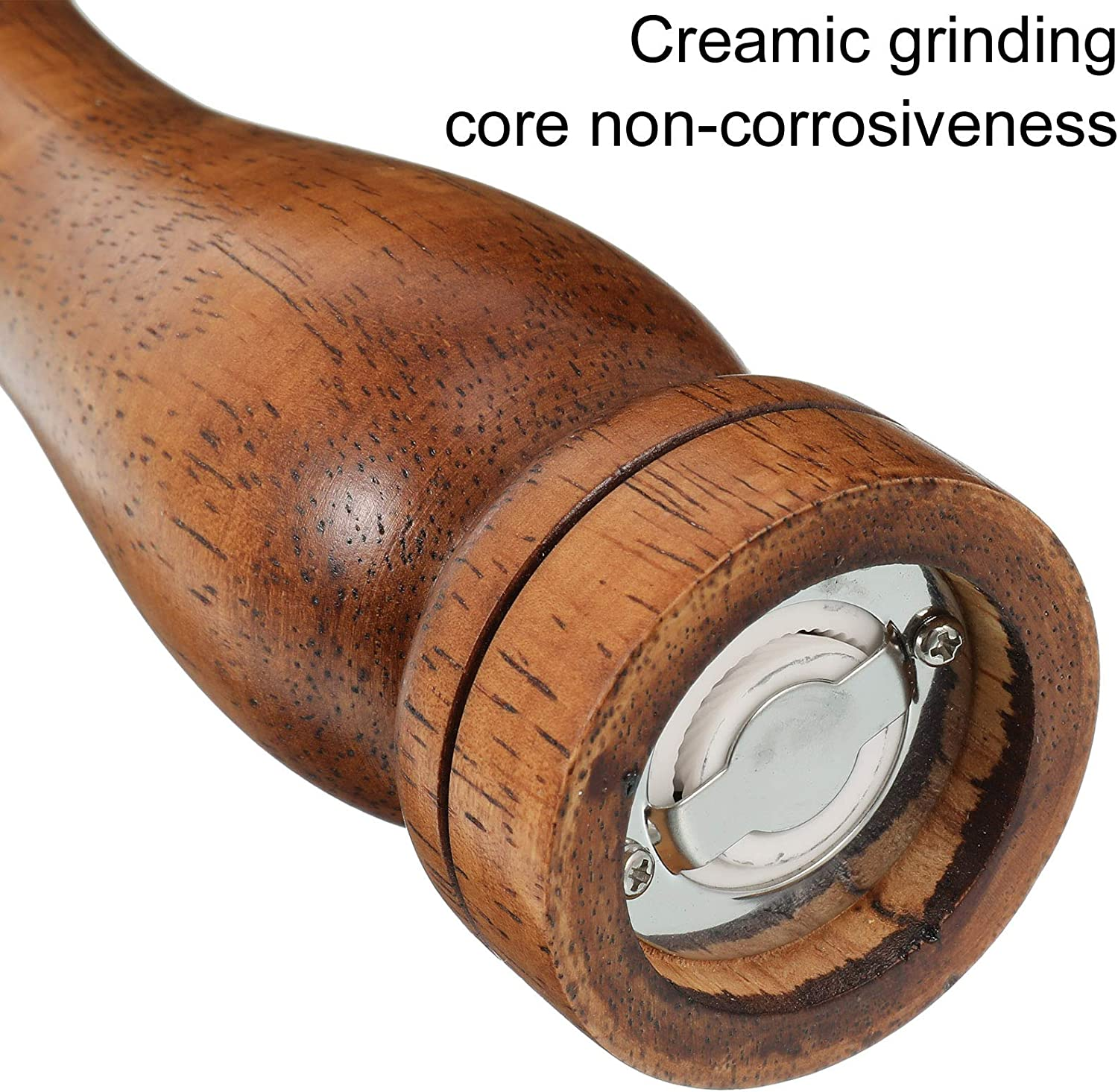 8 inch Ceramic Grinding Mechanism with Adjustable Coarseness for Professional and Home Kitchen Use Canghai Wooden Salt and Pepper Mill Grinder