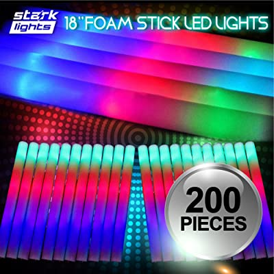 "200 PCS Light Up 18"" Foam Sticks LED Wands Rally Rave Batons DJ Flashing Glow Stick: Toys & Games"