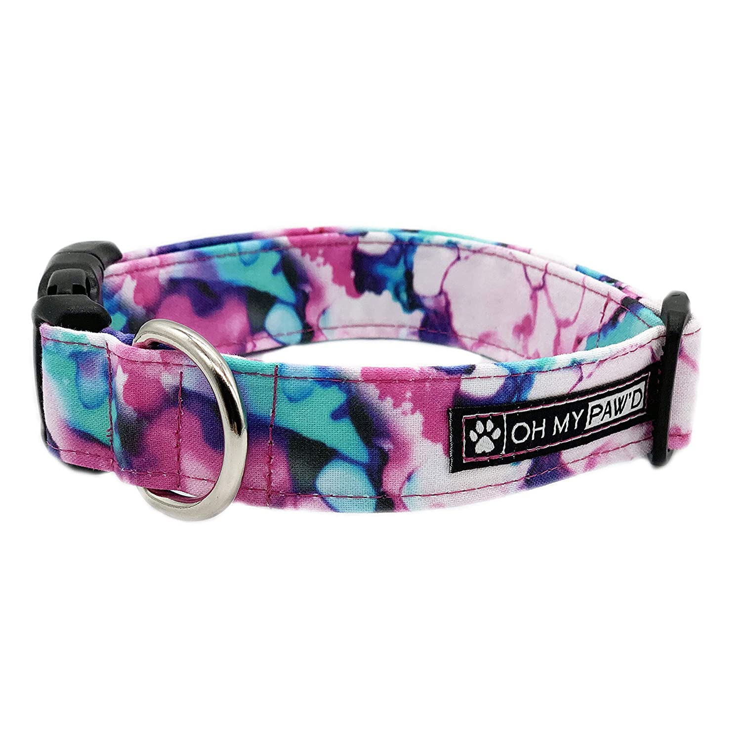 Watercolor Collar for Pets Size Large 1 Inch and Wide 17-25 Inches Long - Hand Made Dog Collar by Oh My Paw'd
