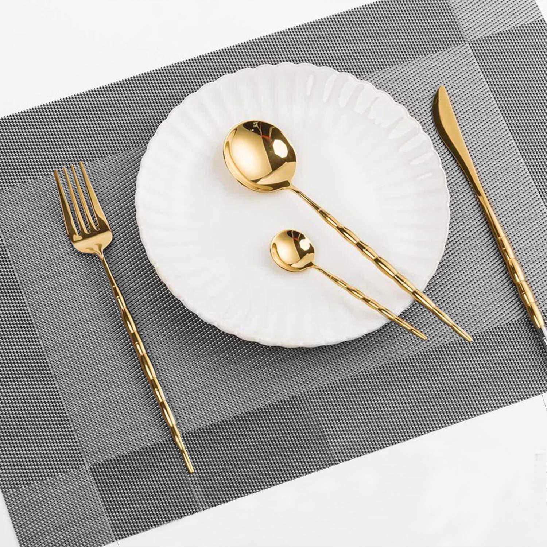 Gris Urbain GoMaihe Sets de Table Lot de 4 /Étanche Lavable R/ésistant /à la Chaleur Dessous de Table Convient pour Cuisine Restaurant Caf/é Bar F/ête Napperons Tress/é en PVC Antid/érapant