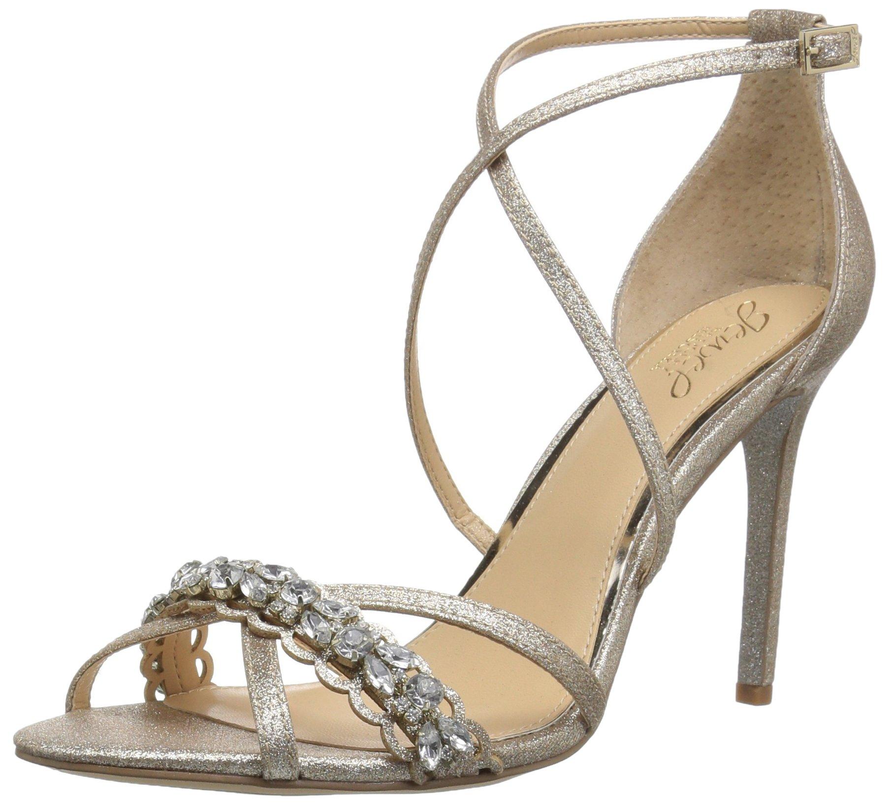 Badgley Mischka Jewel Women's Gisele Heeled Sandal, Gold, 8 Medium US
