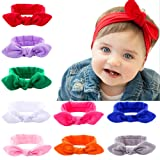 Itaar baby girl headband headwrap rabbit ear hairband knot bow Stretch Elastic cotton head band 9pcs pack