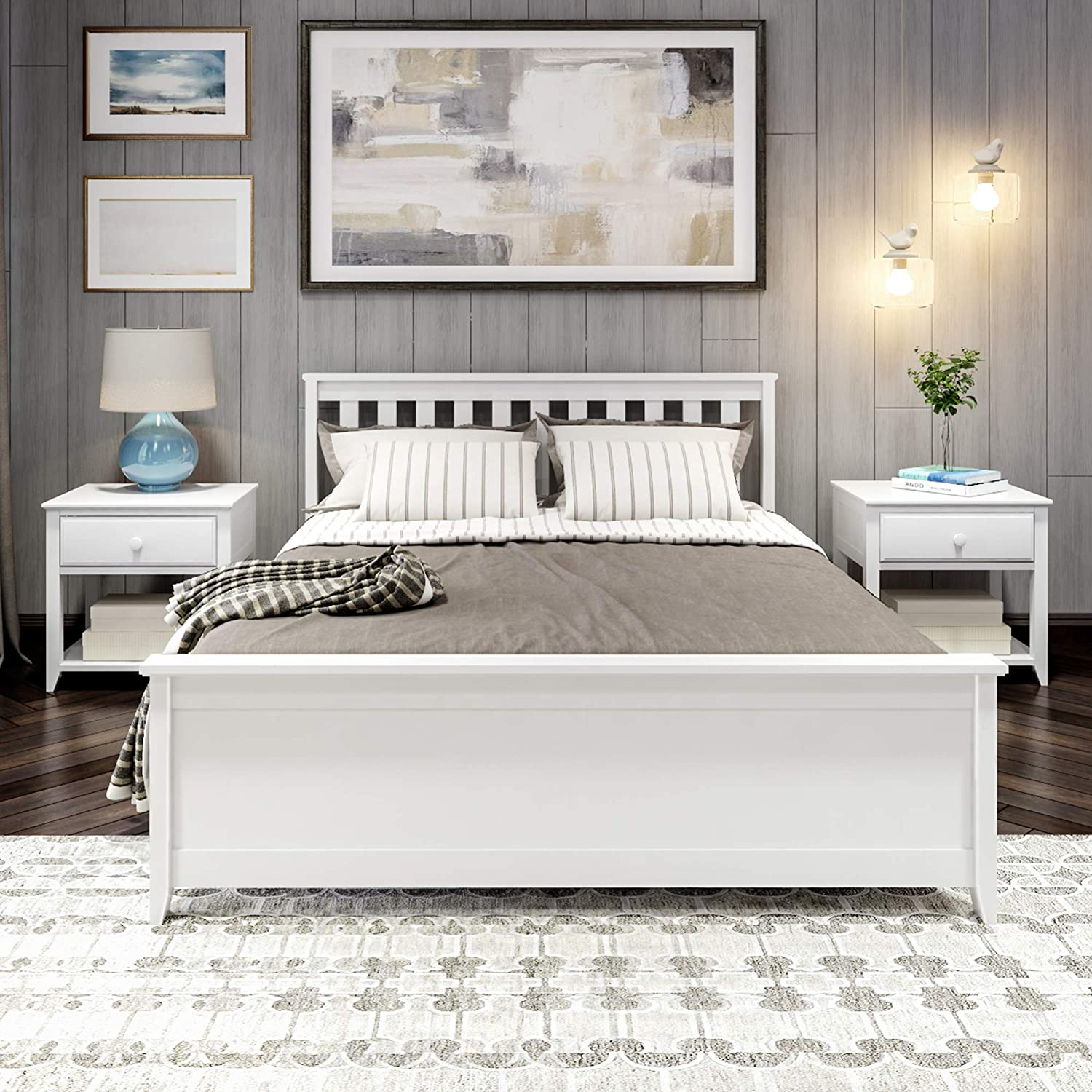 Plank & Beam PB312-002 Solid Wood Queen-Size Bed, White
