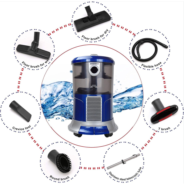 Syntrox Germany - WS de 2300 W Poseidon Aspiradora con filtro de agua seco y húmedo aspirador: Amazon.es: Bricolaje y herramientas
