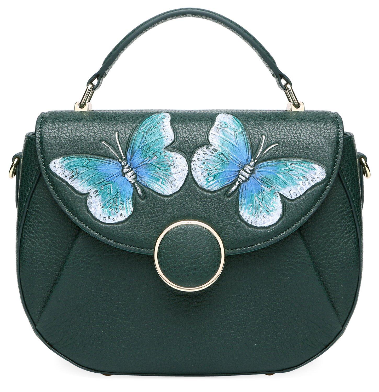 PIJUSHI Designer Shoulder Purses Women's Genuine Leather Bag CrossBody Bag Summer (8002 Dark green Butterfly)