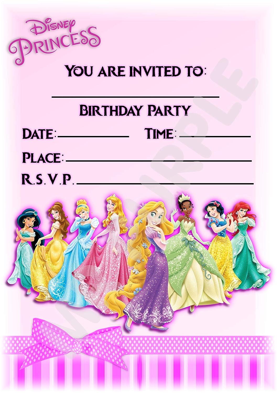 Invitaciones para fiesta de cumpleaños de grupo de princesas ...