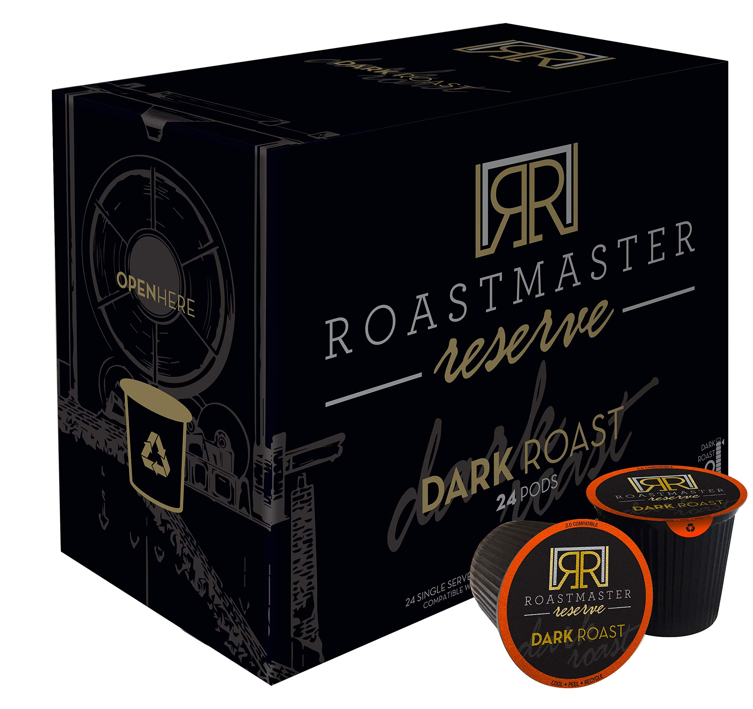 Roastmaster Reserve Dark Roast Coffee Pods - 24ct. Limited-Batch Rare Coffee ''Costa Rican El Tigre Blend'' Recyclable Single Serve Pods, k-cup compatible including 2.0