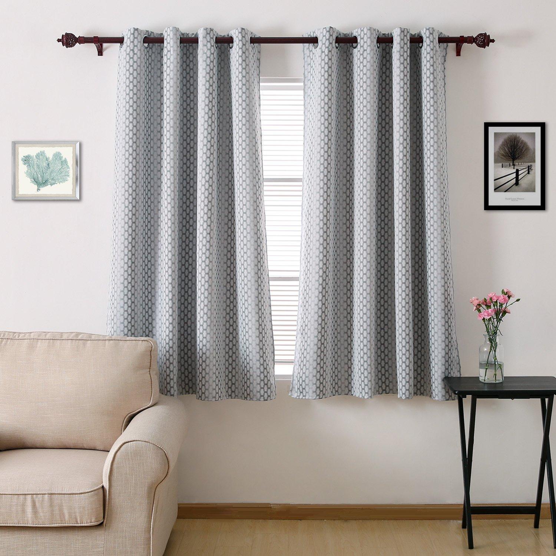 Deconovo Gradient Moroccan Designed Energy Efficient Curtains Grommet Hotel Qulity Blackout Curtains 52x63 Inch Grey Two Panels