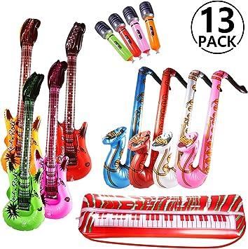 Yosemy Inflables de Juguete, Inflable Guitarra Saxofón Micrófono Teclado, Música Parte Prop para Fiesta, Piscina, Bebé Ducha, Tiro Apoyos, Día de los Niños Regalo, 13 Pcs (Color al Azar): Amazon.es: Juguetes y