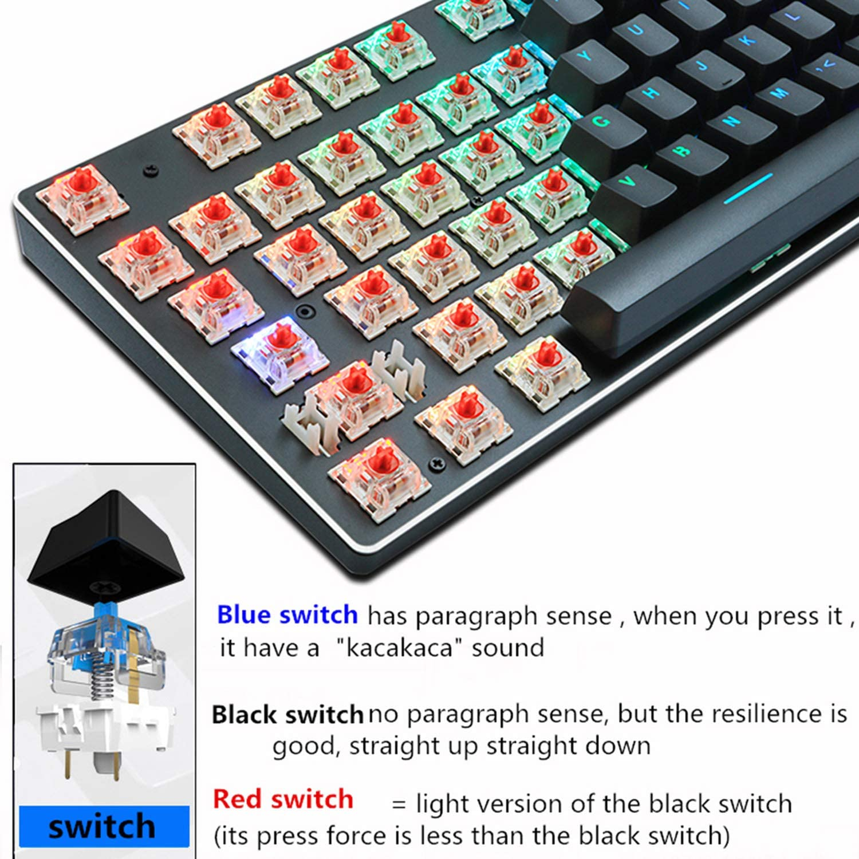 Mechanical Keyboard RU//US Wired Keyboard Anti Ghosting RGB//Mix Backlit Led USB for Gamer PC Laptop,87Black Mix Light RU,Blue Switch