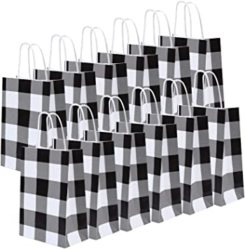 Amazon.com: Cooraby - 20 bolsas de papel a cuadros de color ...