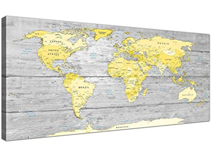 e98b2007a0b Wallfillers Large Yellow Grey Map of World Atlas Canvas Wall Art Print - Maps  Modern 120cm Wide - 1305  Amazon.co.uk  Kitchen   Home