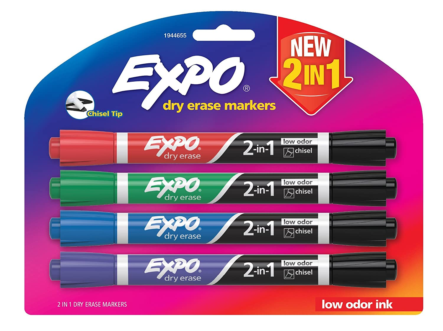 Expo Dry Erase 2-in-1 Markers, Chisel Tip, Assorted, 4-Pack (1944655) Newell Rubbermaid Office
