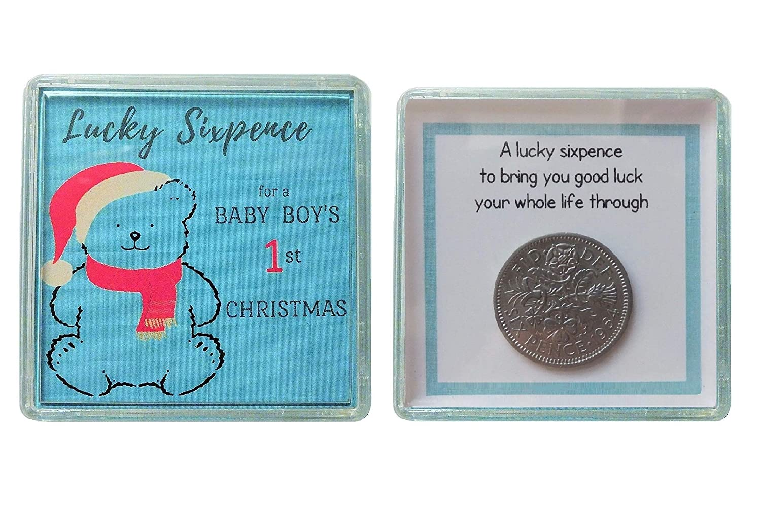 Baby Boys First 1st Christmas Stocking Filler Gift Lucky Sixpence Little Cased Keepsake Box Unique Present