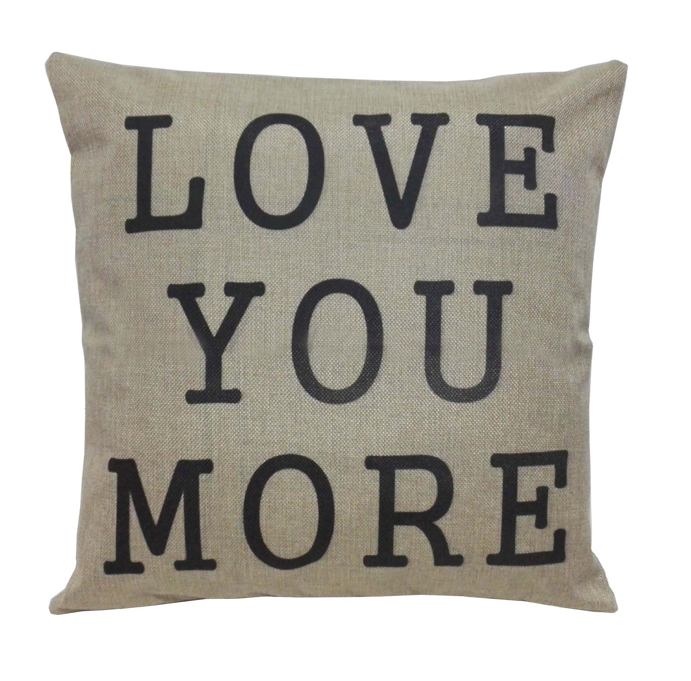 Lydealife (TM)18 X 18'' Cotton Linen Decorative Couple Throw Pillow Cover Cushion Case Couple Pillow Case, Set of 2 - I Love You & Love you More LD094 by Lydealife (Image #3)