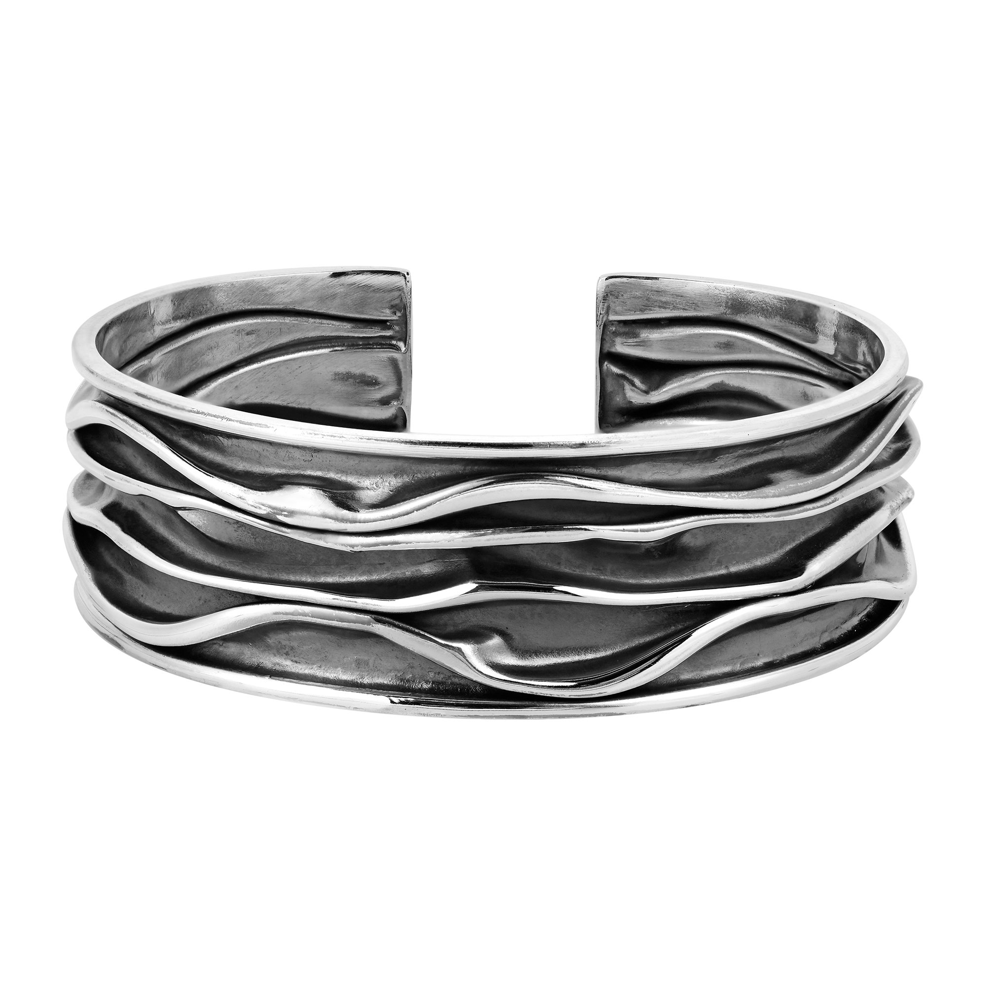 Handcrafted Two Tone Oxidized Ocean Wave .925 Sterling Silver Cuff Bracelet