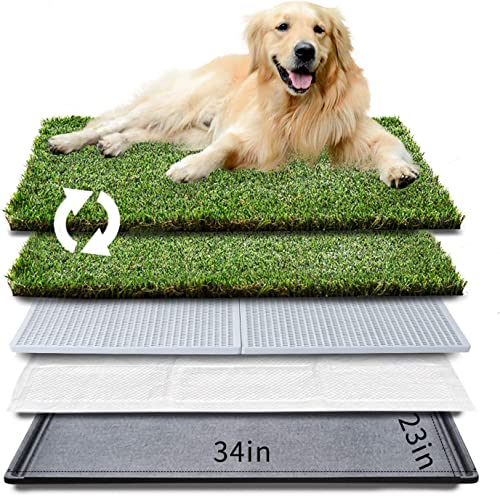 "HQ4us-Dog-Grass-pad-with-Tray-Large-Dog-Litter-Box-Toilet-34""×23"""