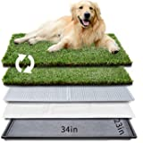 """HQ4us Dog Grass pad with Tray Large Dog Litter Box Toilet 34""""×23"""", 2×Artificial Grass for Dogs ,Pee pad, Realistic, Bite Resi"""