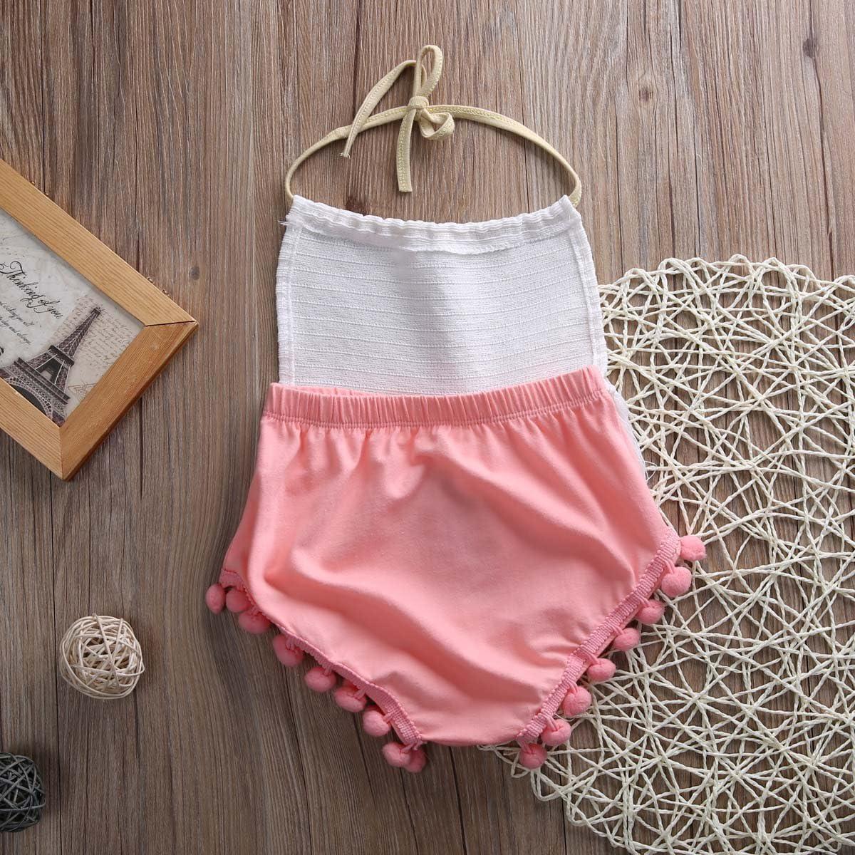 Toddler Baby Girl Clothes Halter Top Backless Sunflower Lace Tassel Polka Dot Short Pants Summer Outfits Set