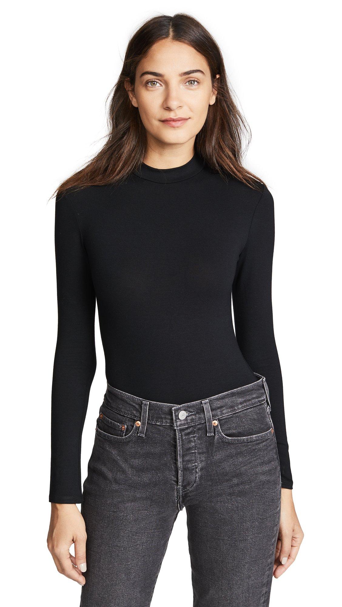 Only Hearts Women's So Fine Long Sleeve Bodysuit, Black, Medium