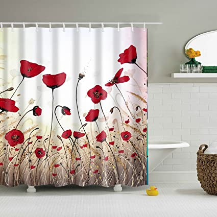 Amazon BROSHAN Floral Shower CurtainPoppy Flower Vintage