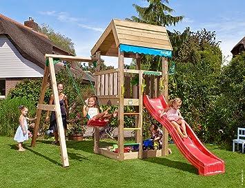 Jungle Gym Home 1-Swing Rojo Parques Infantiles de Madera para Jardin con Tobogan y Columpio: Amazon.es: Juguetes y juegos