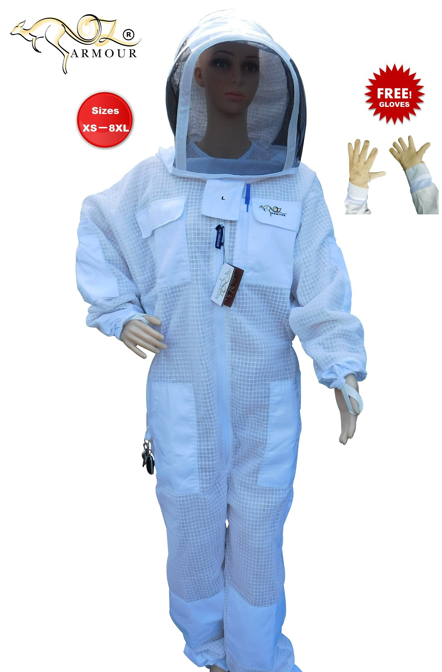 BEEKEEPING FULL SUIT VENTILATED ULTRA COOL WITH HOOD 3 LAYERS MESH WITH COW HIDE VENTILATED BEEKEEPING GLOVES (XX-Large)
