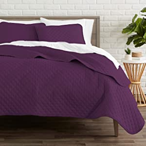 Bare Home Premium 3 Piece Coverlet Set - Full/Queen Size - Diamond Stitched - Ultra-Soft Luxurious Lightweight All Season Bedspread (Full/Queen, Plum)