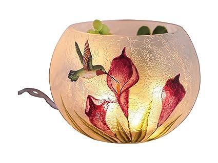 Amazon Transpac Round Glass Hummingbird Vase With Led Lights
