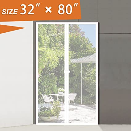 Magnetic Screen Door 32w X 80h Inch White Patio Screens Front Door