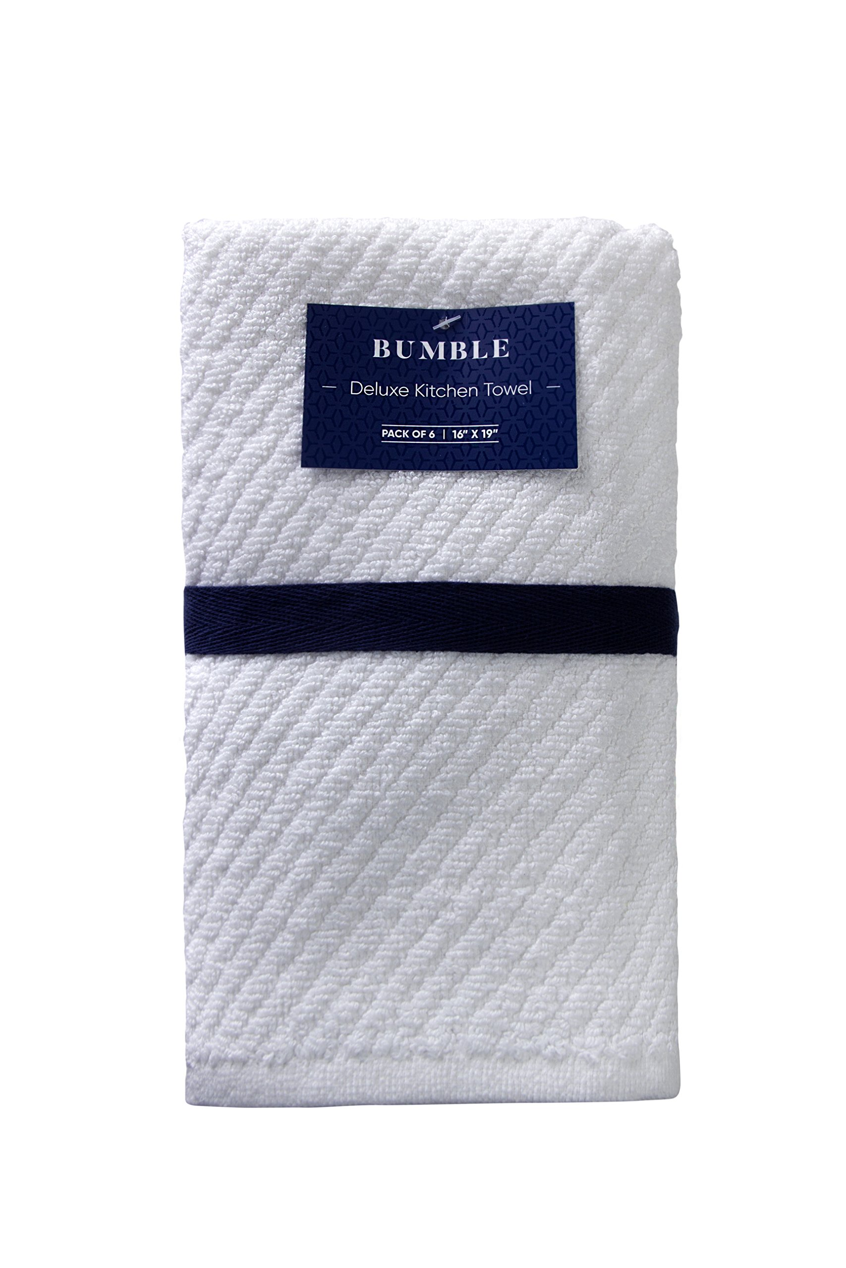 "Bumble Deluxe Barmop Kitchen Towel 6-Pack / 16"" x 19"" / Premium Ultra Absorbent Cotton Hand Towels/Quick Drying Tea Towels/Diagonal Weave Thick 2-Ply/Long Lasting - White"