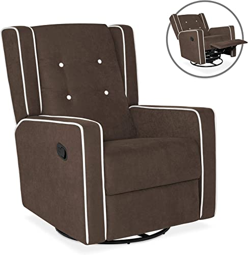 Best Choice Products Mid-Century Tufted Velvet Upholstered Recliner Rocking Chair w 360-Degree Swivel – Brown