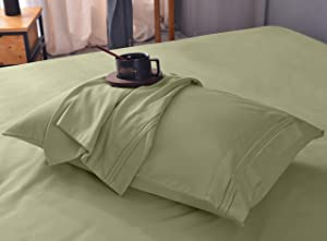 Diamond Queen Size Bamboo Sheets Set – Ultra Soft, Cooling, Wrinkle Free, Deep Pocket, Machine Washable, Hypoallergenic, Fade Resistant Bedding Sheet Set - 4 Piece Set (Queen, Sage Green)