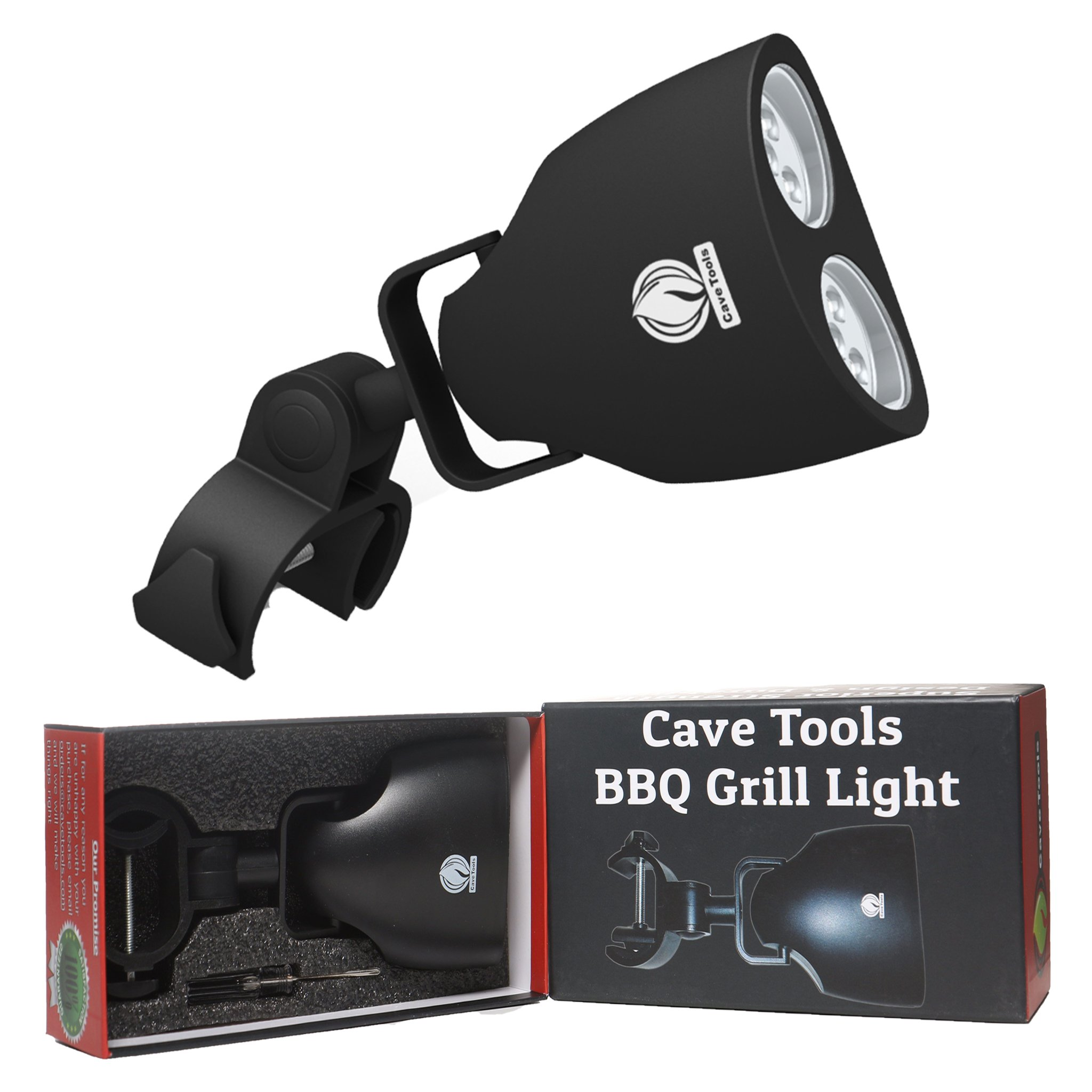 Cave Tools Barbecue Grill Light - Luxurious Gift Box - Upgraded Handle Mount Fits Round & Square Bars on Any BBQ Pit - 10 LED for Grilling at Night - Best Lighting Accessories by Cave Tools