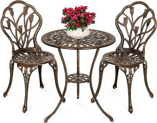 Best Choice Products 3-Piece Outdoor Rust-Resistant Cast Aluminum Patio Bistro Set w/Tulip Design