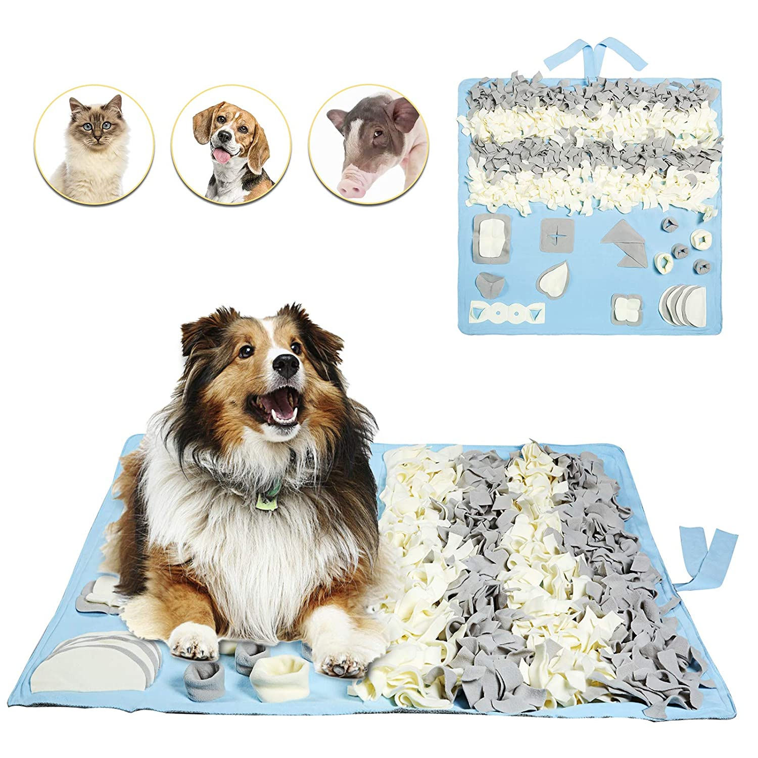 bluee L(39.3\ bluee L(39.3\ Petvins Dog Snuffle Mat Treat Blanket, Pet Puzzle Activity Mat for Stress Release, Nose Work Mat for Slow Feeding and Foraging Training bluee