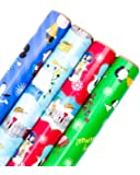 Hallmark Holiday Wrapping Paper Bundle with Cut Lines on Reverse, Peanuts (Pack of 4, 110 sq. ft. ttl.)