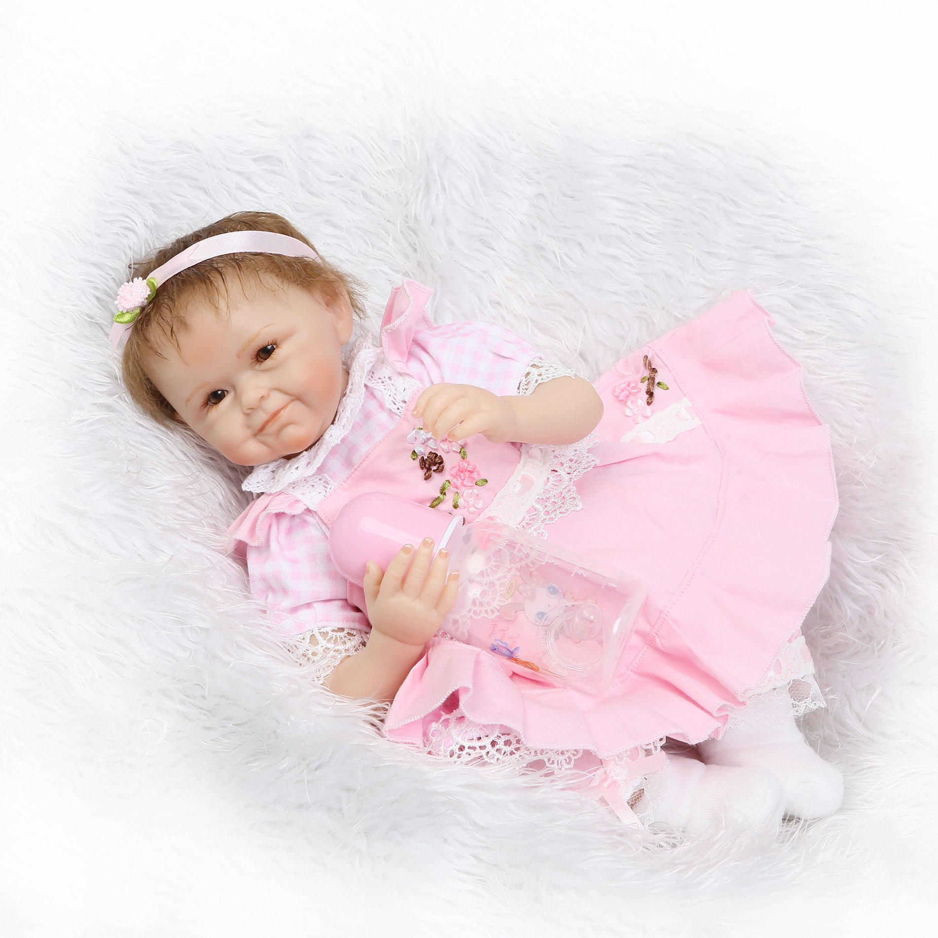 Pursue Baby Soft Body Vinyl Limbs Lifelike Poseable Baby Girl Doll with Blue Eyes, 22 Inch Realistic Weighted Newborn Baby Doll with Matching Outfits