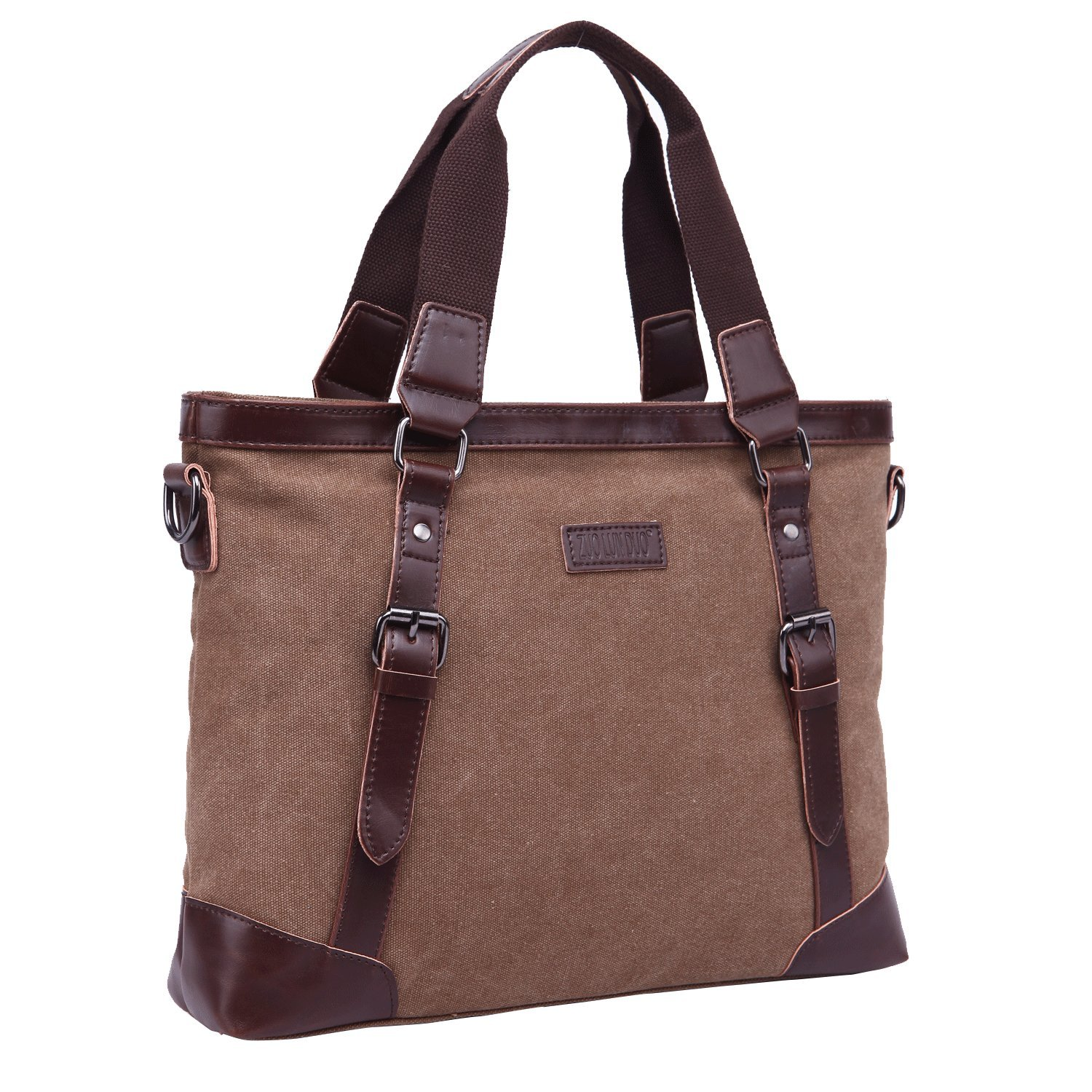 JCTHBAG Men Women 14 Inch Laptop Notebook Totes Canvas Shoulder Messenger Bag Coffee